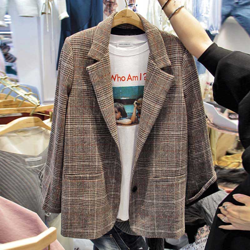 Plaid Blazer Women Korean 2019 Spring Autumn Single Button Blazers Jackets Long Sleeve Outerwear Fashion Feminine Suit Coat