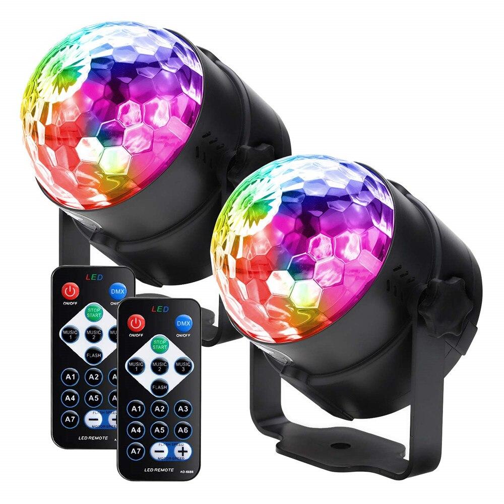 Som ativado girando luzes de festa de discoteca led bola mágica estroboscópio luzes do palco para a sala casa dança aniversário bar karaoke natal