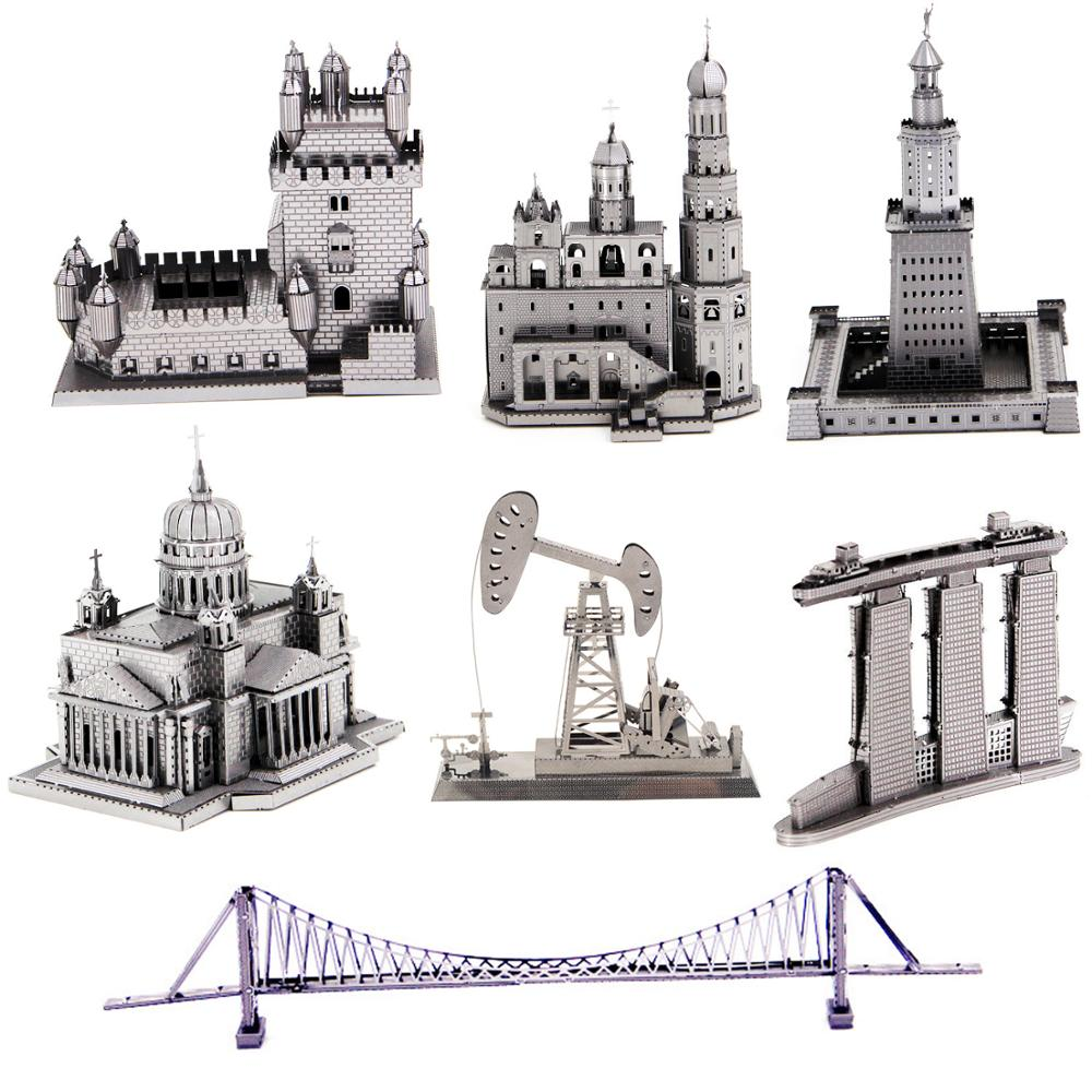 3D Metal Puzzle Playground Ferris Wheel Viking <font><b>Malmo</b></font> building Model kits DIY 3D Laser Cut Assemble Jigsaw Toys GIFT for children image