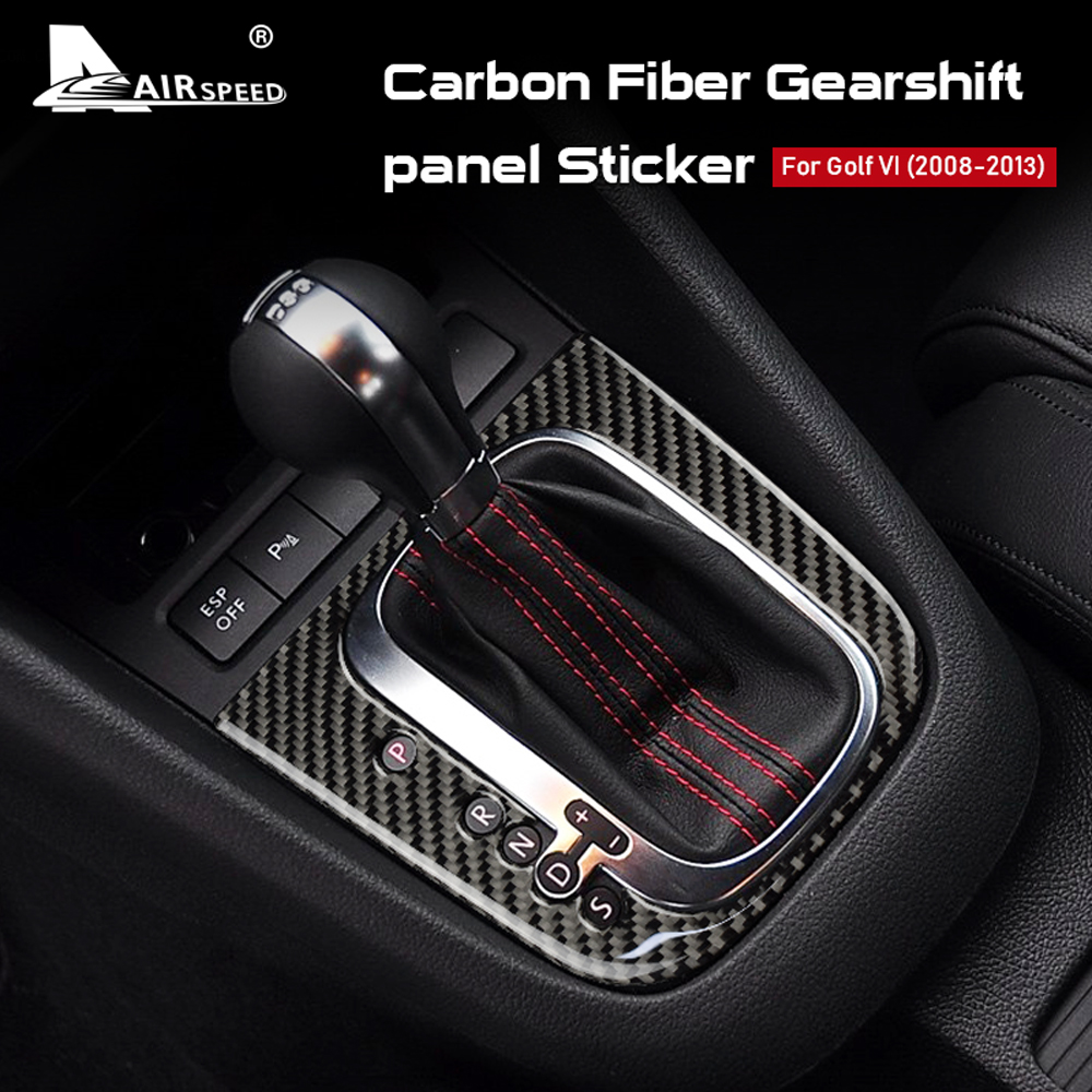 AIRSPEED LHD RHD for Volkswagen VW Golf 6 GTI R MK6 Accessories Real Carbon Fiber Sticker Gear Shift Panel Cover Interior Trim