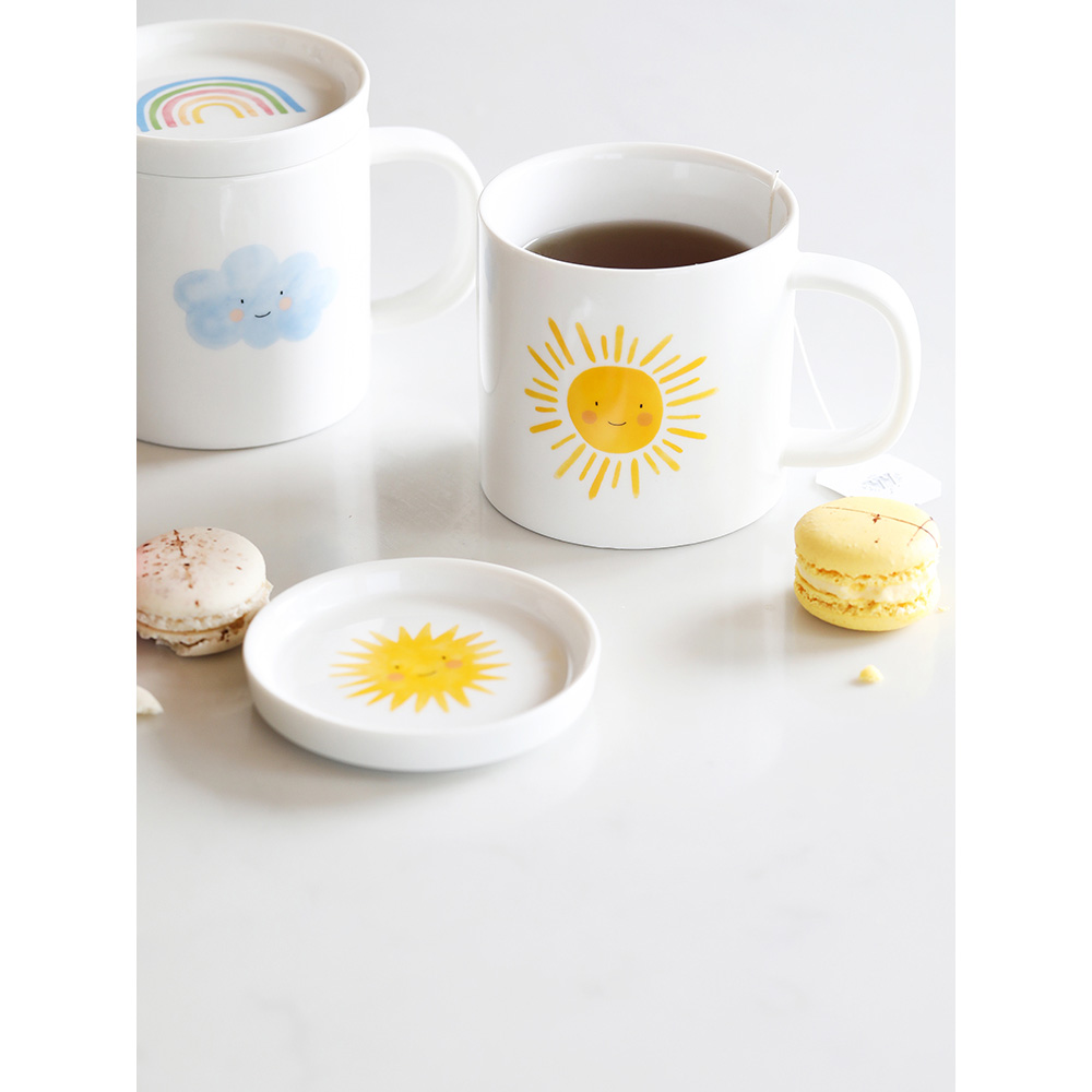 ceramic 8 inch dinner plates cute dishes and plates sets weather wind sunshine printed food container mugs cups rice bowl gifts