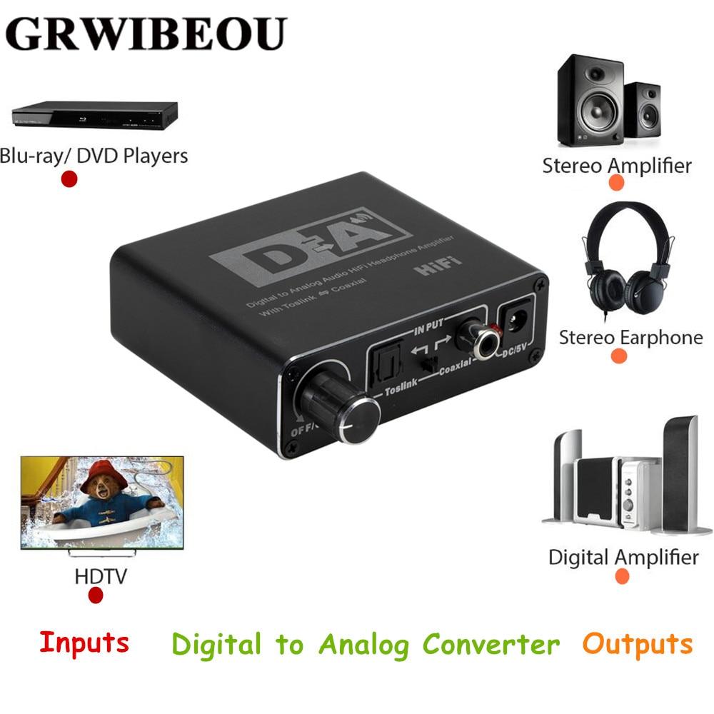 Grwibeou Hifi DAC Digital To Analog Audio Converter RCA 3.5mm Headphone Amplifier Toslink Optical Coaxial Output Portable DAC