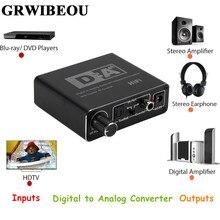Grwibeou conversor de áudio digital para analógico, hifi dac rca 3.5mm fone de ouvido amplificador toslink saída coaxial óptica portátil dac