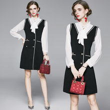Женское трикотажное платье в винтажном стиле zuoman черное элегантное