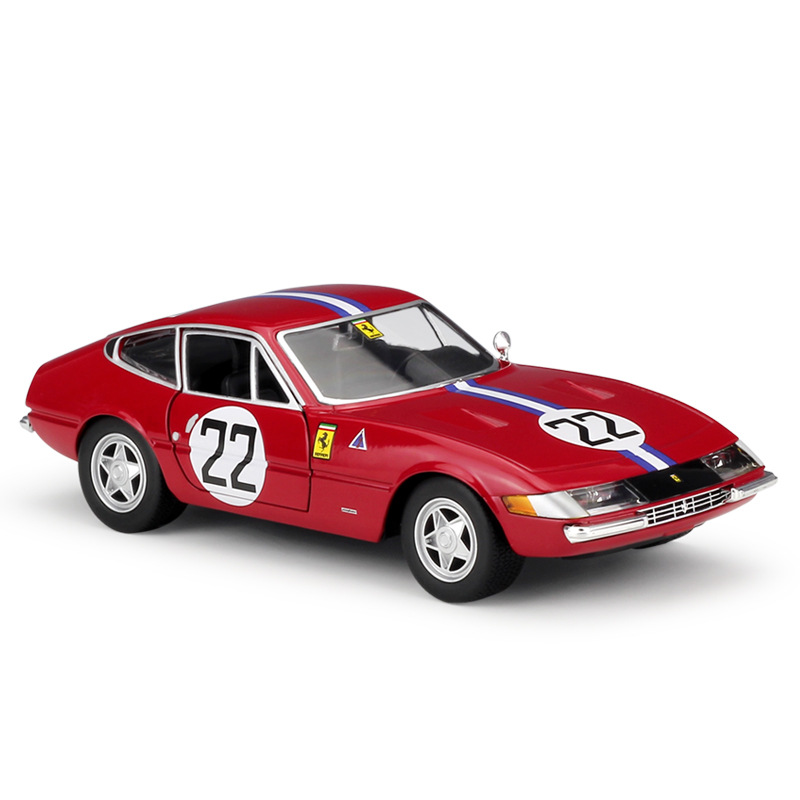 1/24 Ferrari 365 Gtb 4 Alloy Diecast Burago Model Cars Static Simulation Metal Car Miniatures <font><b>Voiture</b></font> Mini Car Collection Toys image
