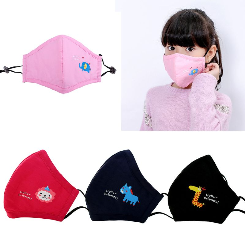 Cute Kids PM2.5 Anti-Dust Mask With Filter Cotton Mouth Cartoon Masks Respirator M6CD