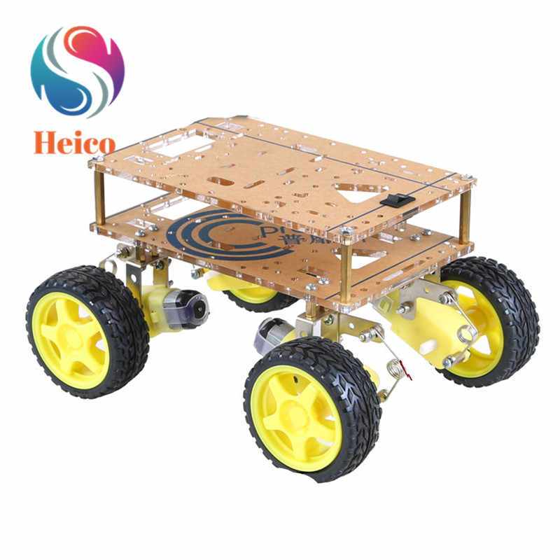 4WD Robot Smart Car Chassis Kit con Forte Motore Magnetico Sospensione Wifi Trolley per Arduino Fai da Te Educativi Robot Smart Car