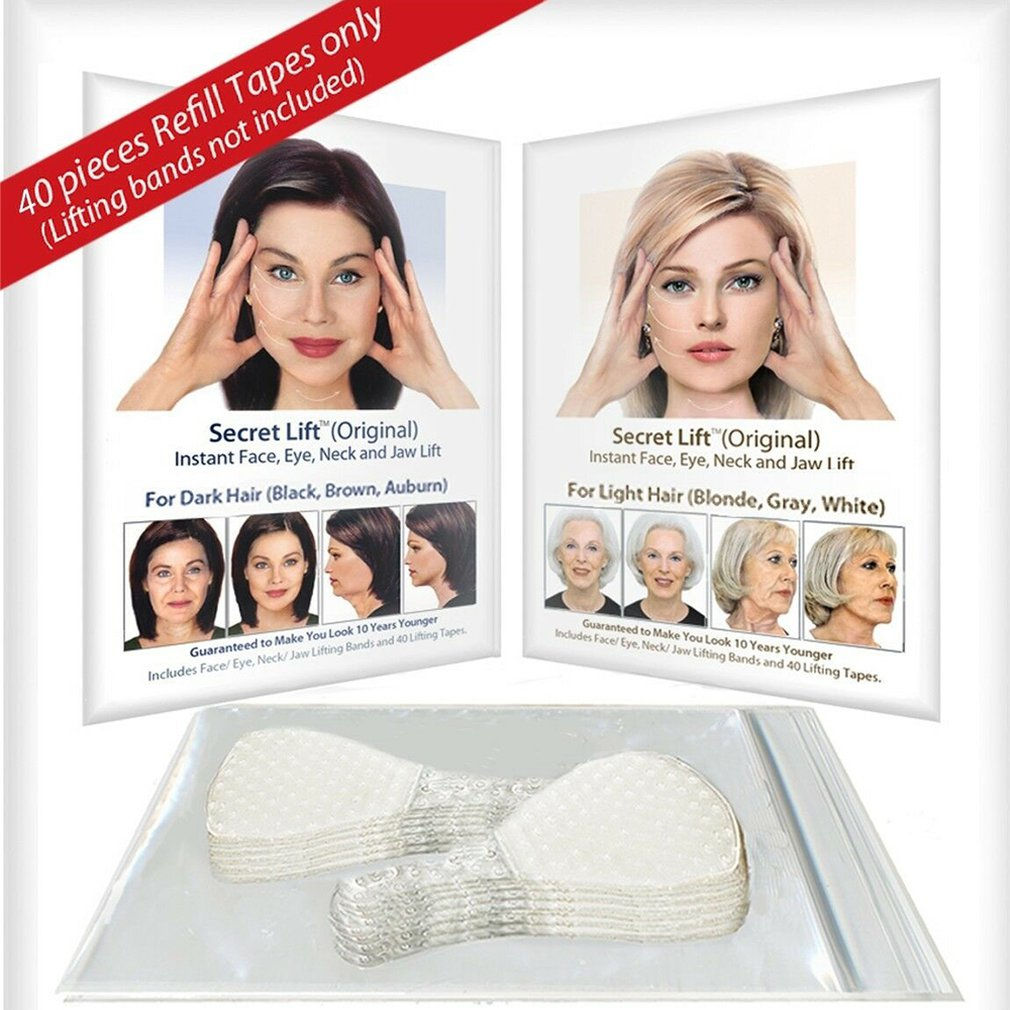 40Pcs / Set Invisible Thin Face Facial Stickers Facial Line Wrinkle Flabby Skin V-Shape Face Lift Tape Scotch For Face