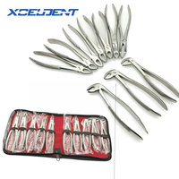 10 pcs/set Tooth Extracting Forceps Pliers for Adults with Toolkit Dental Surgical Extraction Instrument Dentistry Tools