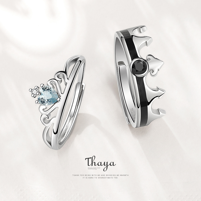 Fairy Tales Series Thaya S925 Sterling Silver Crystal Snow Queen Couple Rings For Engagement Gift Women кольцFine Jerwelry Rings