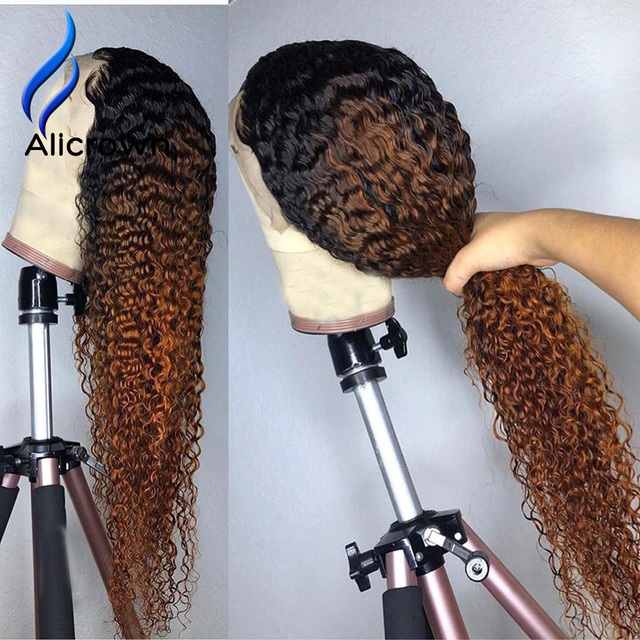 ALICROWN Ombre Curly Lace Front Human Hair Wigs with Baby Hair 13*4 Middle Ration Non Remy Hair Lace Wigs Pre Plucked Wigs