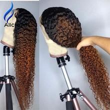 ALICROWN Ombre kıvırcık dantel ön İnsan saç peruk ile bebek saç 13*4 orta oranı olmayan Remy saç dantel peruk ön koparıp peruk