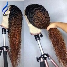 ALICROWN perruque de cheveux naturels non remy bouclée, avec Baby Hair, avec cheveux de bébé, pré emballé, Lace frontal, 13x4