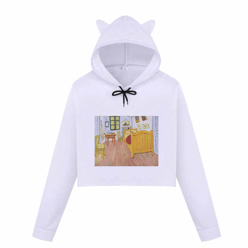 المتناثرة الشارع الشهير فان جوخ فان جوخ مليء بالنجوم المائية المرأة هوديس القط الأذن بلوزات الأزياء عارضة البلوفرات المحاصيل قمم