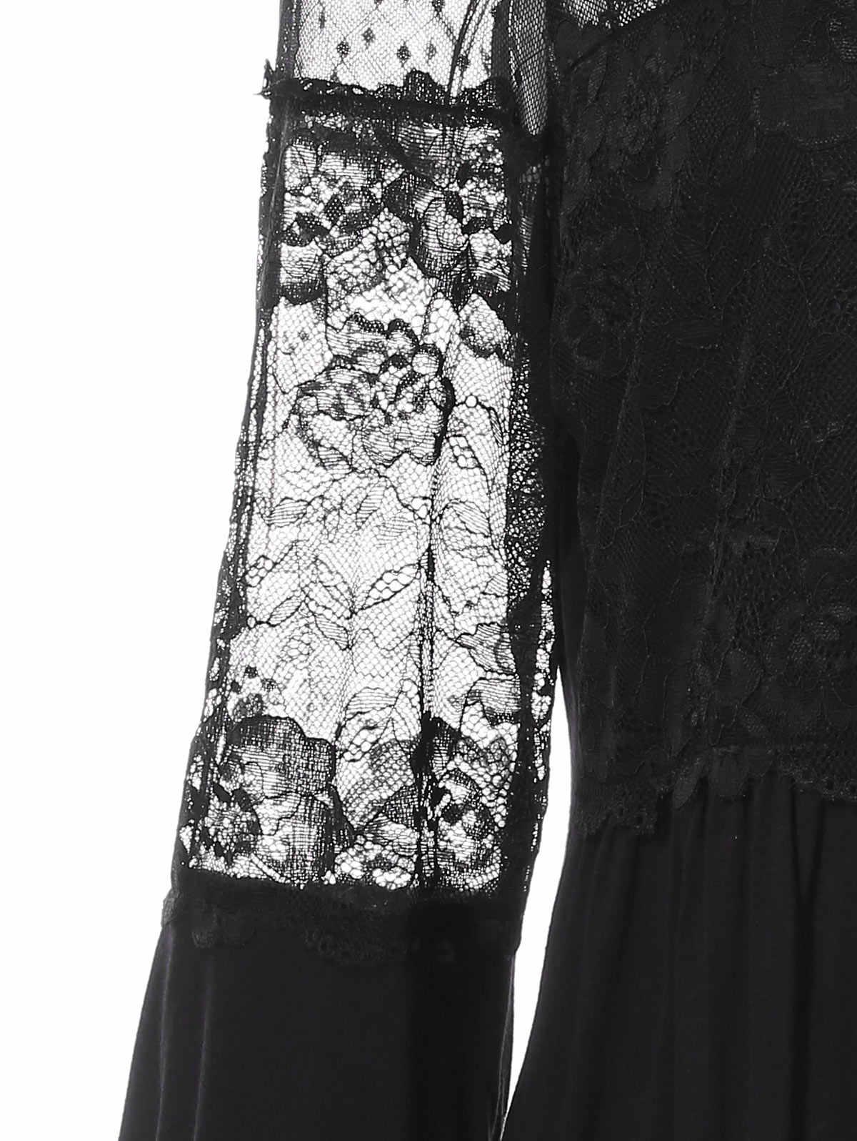 Rosa GAL más tamaño transparente Floral encaje Trim linterna manga túnica Camiseta cuello O Imperio cintura Tee Top Casual sólido ropa de las mujeres