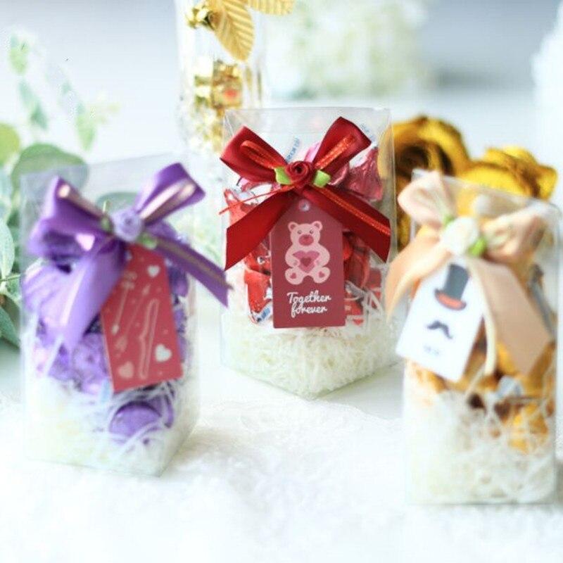 6.2x6.2x12.8cm 10 pièces romantique PVC Transparent boîte de cadeau de mariage bébé douche garçon fille faveur boîtes emballage sac fournitures de fête