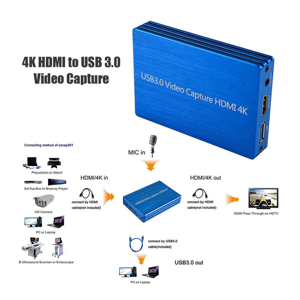 Image 5 - 4K HDMI Video Capture USB 3.0 Video Capture HDMI to USB 1080P  60fps HD Video Recorder for Game Streaming Live Stream BroadcastVideo