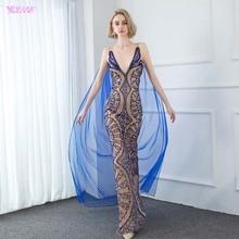Yqlnne couture 럭셔리 블루 크리스탈 이브닝 드레스 섹시한 v 넥 누드 라이닝 이브닝 가운 목도리와 민소매 인어 드레스