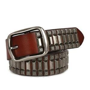 Image 1 - 2019 Heavy Metal Rivet Belts For Men Cowboy Motorcycle Jeans Genuine Leather Men Belt Punk Rock Male Strap Ceinture Homme