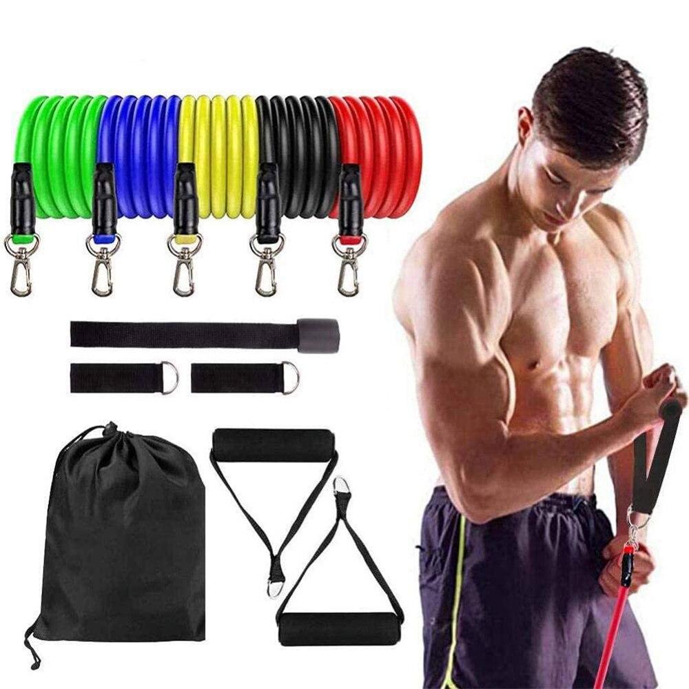 11 adet egzersiz direnci bantları setleri kadınlar ve erkekler için spor spor salonu gücü eğitim vücut Yoga Pilates spor lastik bant yukarı çekin