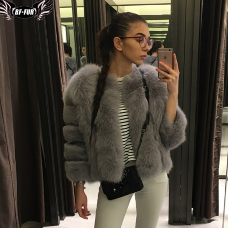 Image 5 - Fashion Silver Fox Real Fur Coat Thick Warm Blue Fox Womens Coats 2019 Winter Whole Skin Natural Fur O Neck Elegant Costumereal fox fur coatblue fox fur coatfox fur coat -