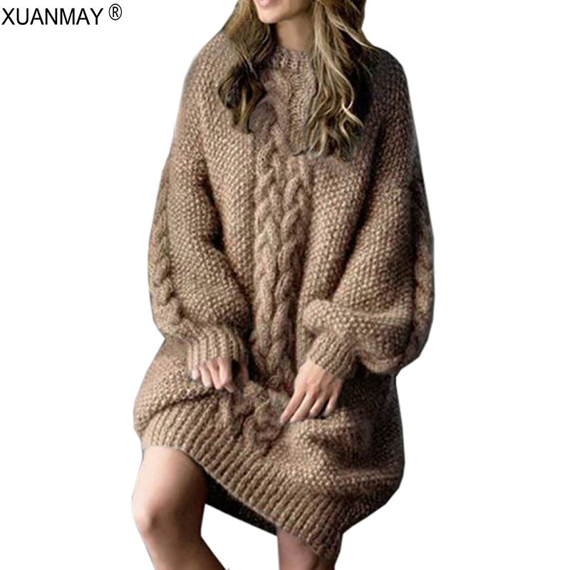 Winter 2019 Thick Warm Long Style Sweater Loose Casual Large Size Pullover Sweater Winter Comfortable Soft Sweater Coat Women