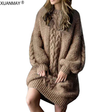Winter 2019 Thick Warm Long Style Sweater Loose Casual large size Pullover