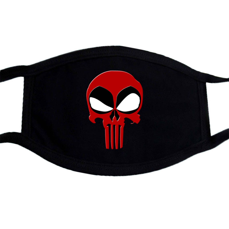 Black Bilayer Cotton Warm Mouth Masks Halloween Masquerade Funny Skull Cosplay Mask Winter Mouth Half Face Dust Mask Kpop