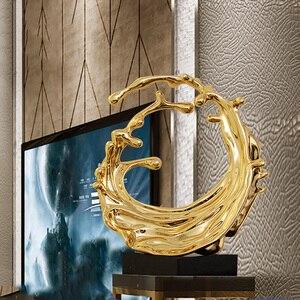 Современная Скульптура покрытая брызгами воды смолы абстрактная скульптура мраморная основа статуи для украшения дома отеля Декор Аксесс...