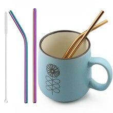 Pailles à boire en acier inoxydable 18/10, 2 pièces, paille réutilisable avec brosse de nettoyage, pour fête, café et Bar