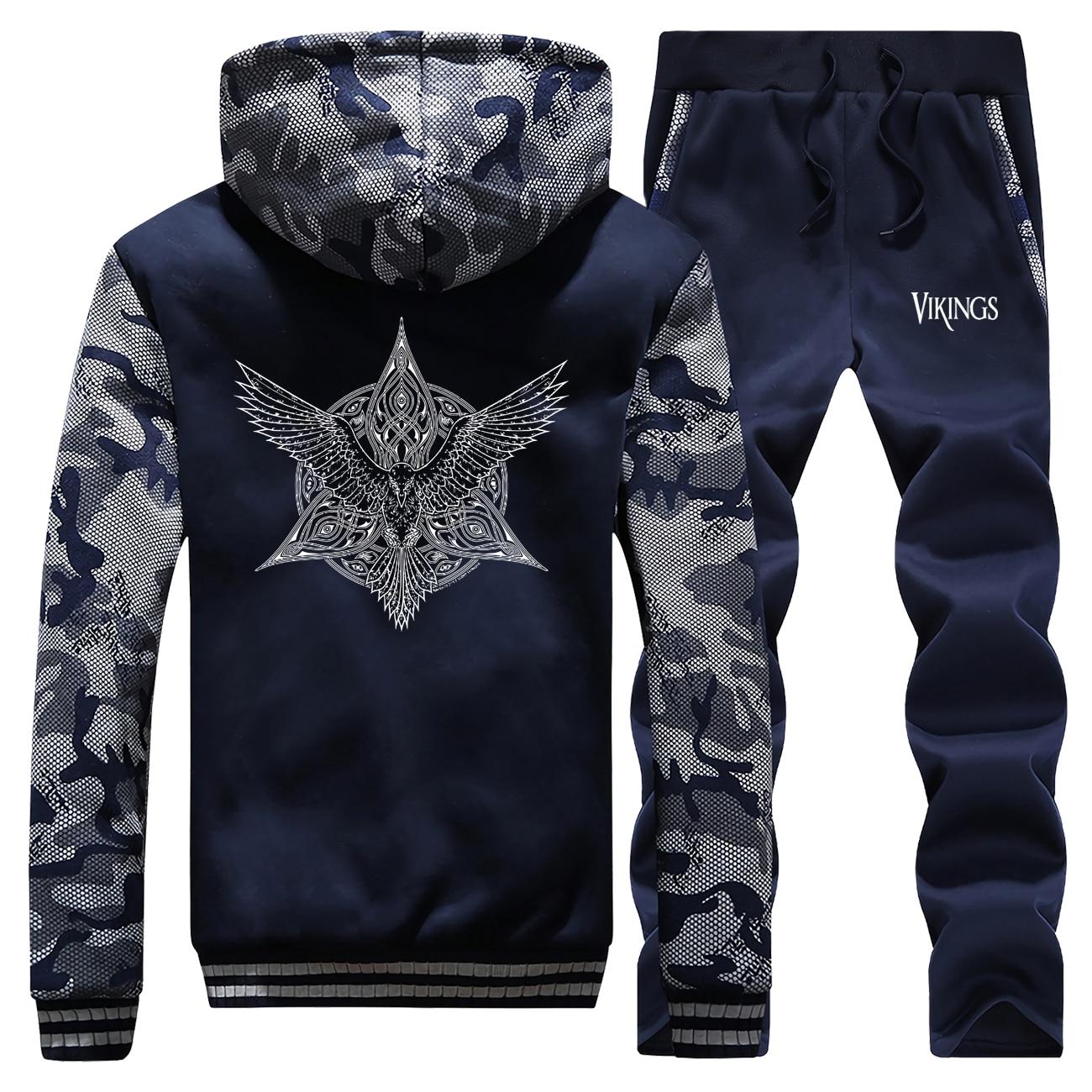 Viking Legend Sweatshirt Trousers Suit Winter Fleece Hoodies Ragnar Raven Coat Mens Jacket+Pants 2 Piece Set Men Thick Tracksuit