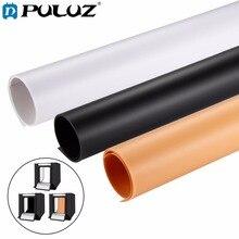 PULUZ 3 sztuk 73.5x37.5 cm fotografia tło papier PVC zestawy do zdjęcie namiot studyjny (czarny, biały, żółty)