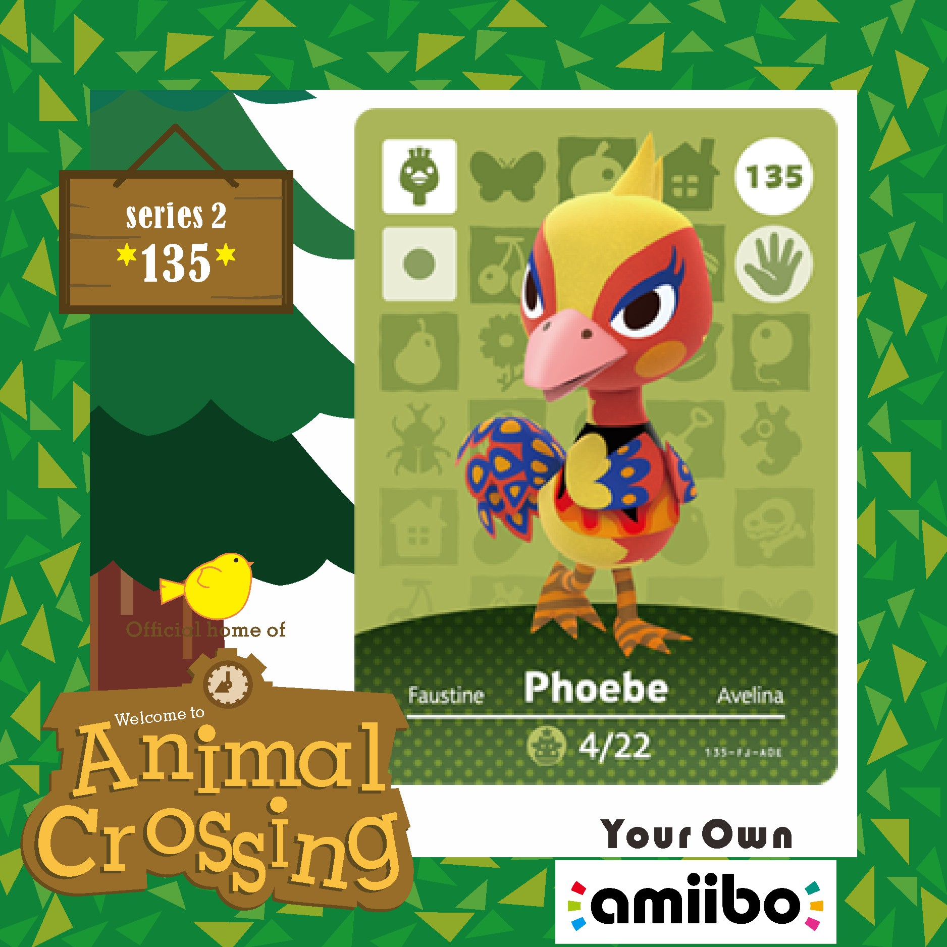 Animal Crossing Villager Amiibo Card 135 Amiibo Phoebe Animal Crossing New Horizons Villager Card Phoebe 135  Series Set Season2