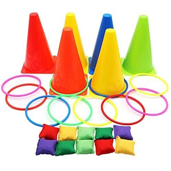 3 in 1 Ring Game Carnival Combo Set Soft Traffic Cone Bean Bags with Plastic Multicolor Thg Circle Activity Rings - discount item  10% OFF Outdoor Fun & Sports
