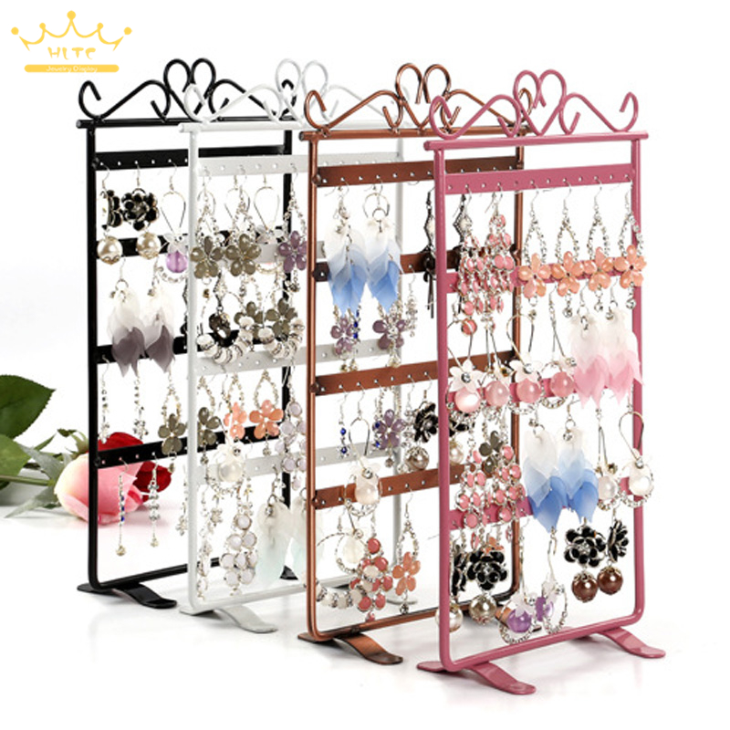 48 Holes Metal Mounted Earring Necklace And Bracelet Display Stand Metal Jewelry Storage Stand Earring Holder