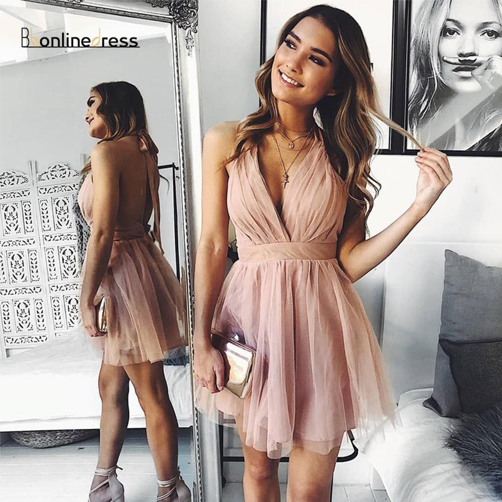 Bbonlinedress Halter Homecoming Dresses A-Line Sleeveless Short Party Dress Above Knee Prom-Gowns Vestidos
