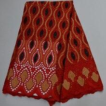 (5 ярдов/шт) новое поступление швейцарская вуаль кружевная ткань красного цвета Африканская Хлопковая кружевная ткань с отверстиями для веч...