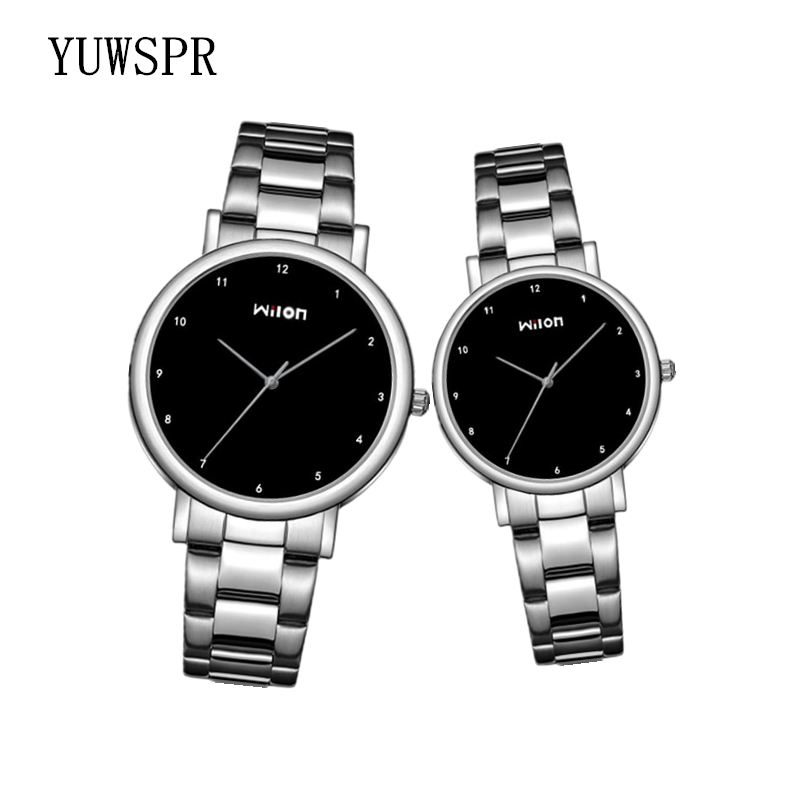 Couple Watches Man Women Quartz Watch Simple Ultra-thin  Lovers Watches Stainless Steel Strap Clock Wilon 906