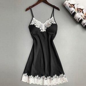 Women Nightgowns Sexy Nightwear Lace Patchwork Camisola Lingerie Nighty Wedding Silk Dress Sleep Wear Nightdress Clothes