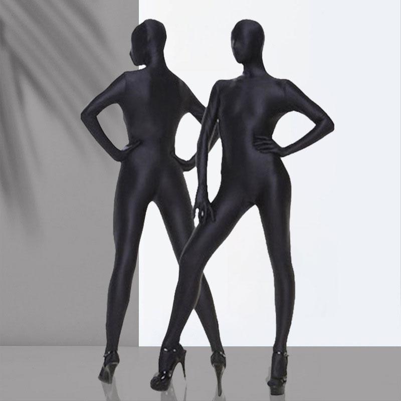 Сексуальное блестящее боди из лайкры для косплея, полностью закрывающее прозрачное боди с открытой промежностью, обтягивающее боди, женско...