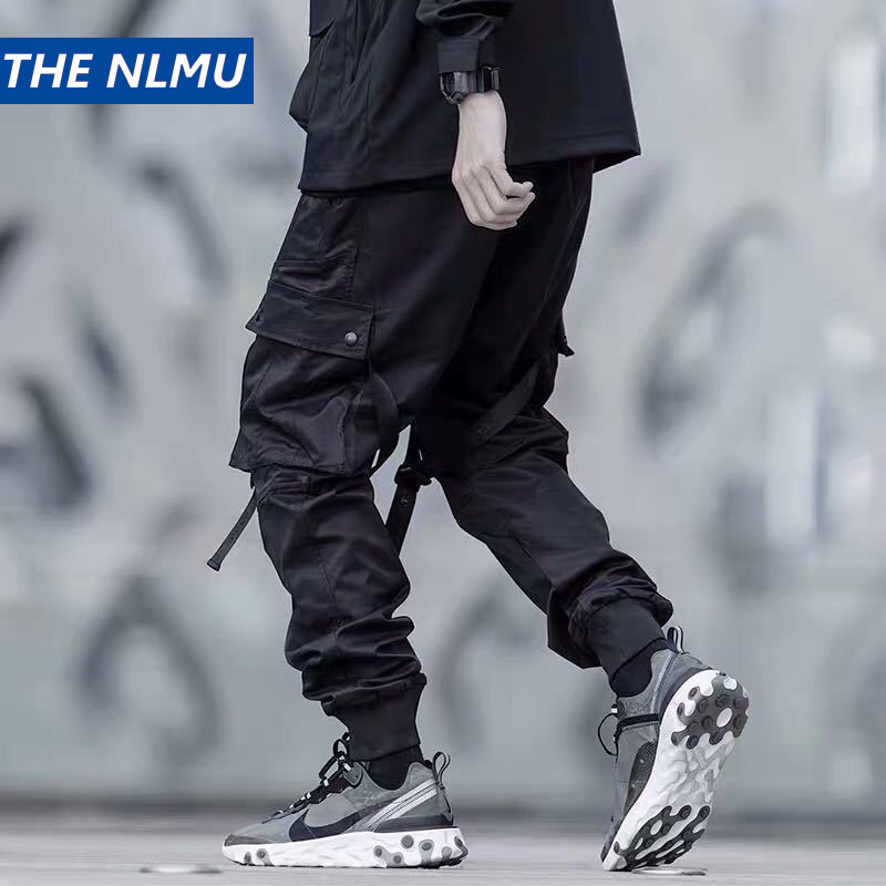 US Size Streetwear Sweatpants Men Jogger Ribbon Pocket Elastic Waist 2019 Fashion Hip Hop Mens Joggers Cargo Black Pants HZ155