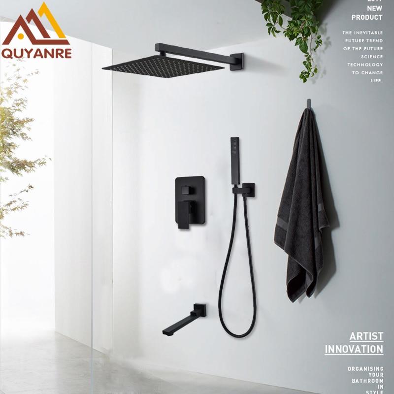Quyanre Matte Black Shower Faucets Set Rain Waterfall Concealed Shower System Wall Mount Bathtub Shower Mixer Shower Combo Set