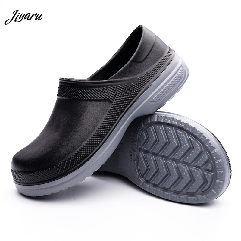 Jiyaru Mens Work Shoes Restaurant Kitchen Chef Flats Waterproof Anti Oil