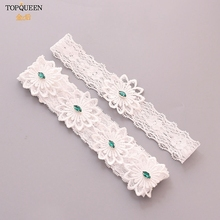 TOPQUEEN 2pcs/Set Wedding Garters Lace Embroidery Floral Sexy Garters for Women/Bride Green rhinestone Princess Garter TH27 TH28 high quality openwork lace black spandex corsets garters for women