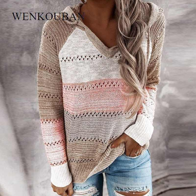 2020 Hoodies For Women Knitted Sweatshirt Oversize Casual Stripe Hooded  Pullovers Ladies Short Streetwear suaderas para mujer