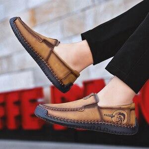 Image 5 - Büyük boy erkek rahat deri düz ayakkabı eski pekin stil mokasen sonbahar kış yüksek kaliteli Moccasins yumuşak taban Zapatos 39 48