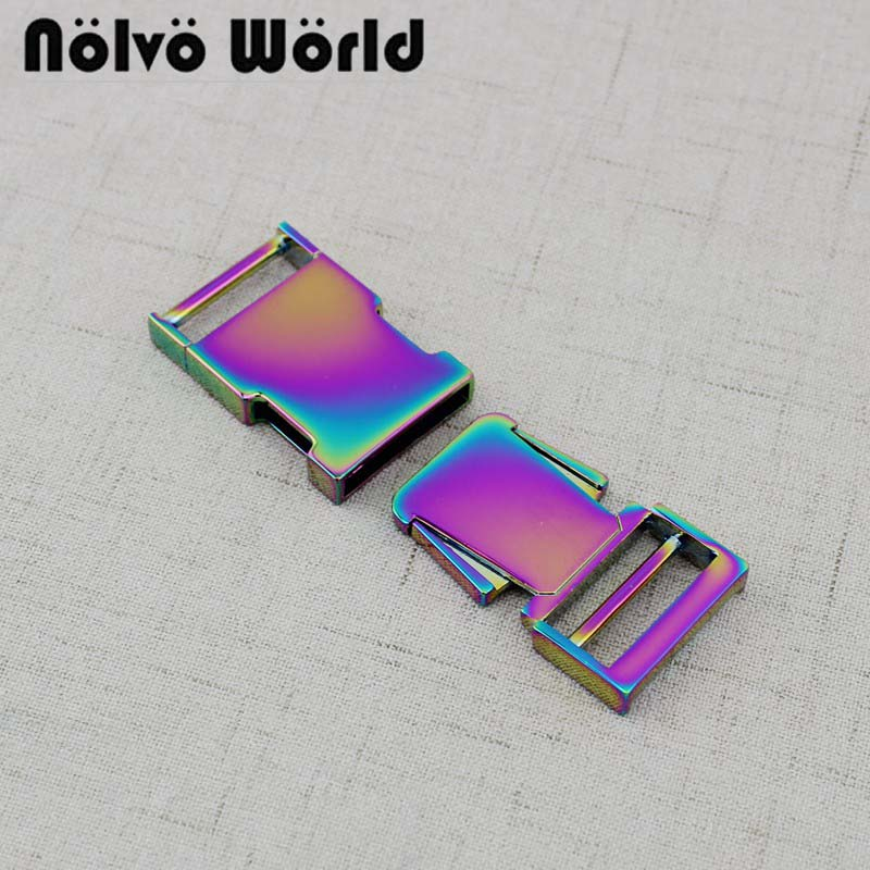 3-20-50pcs 65X25mm 1 inch Rainbow finish Side Release Buckle For Dog Pets Dollar Accessories()