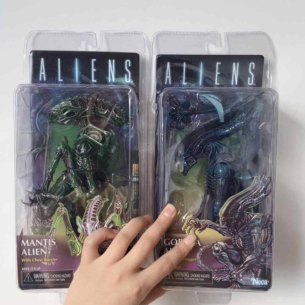 Alien Vs Predator Figure Series Queen Wajah Pemeluk Mantis Gorila Alien PVC Action Figure Model Mainan Boneka Hadiah