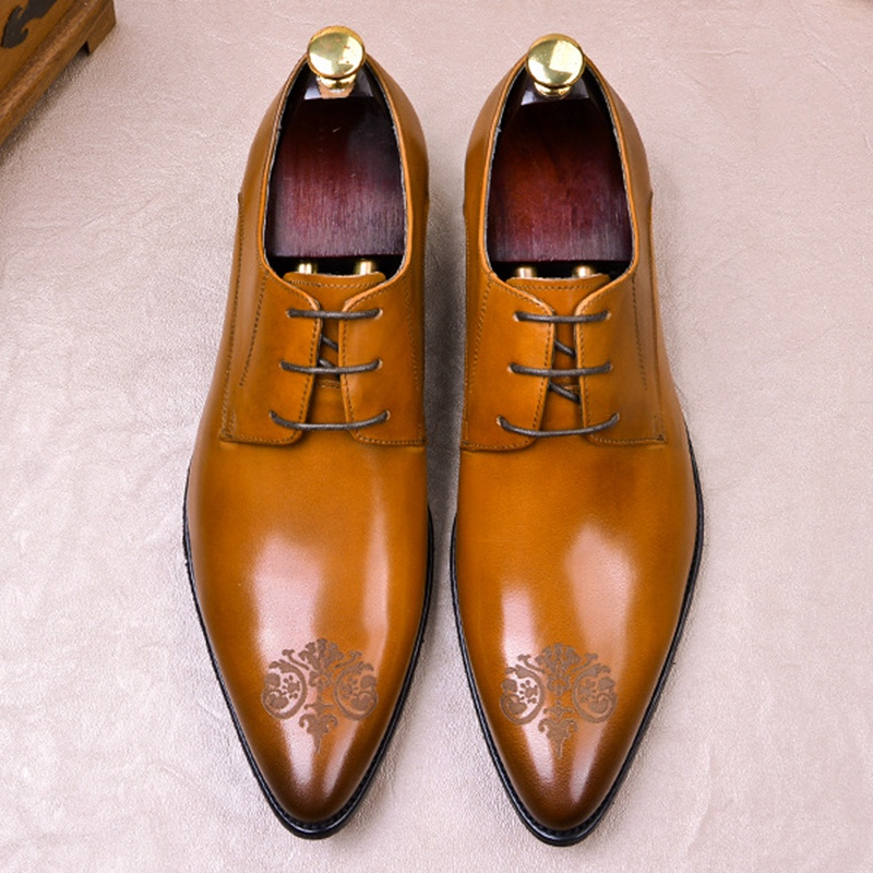 Luxury Genuine Leather Men's Handmade Oxfords Italian Pointed Toe Laces Man Formal Dress Derby Wedding Shoes For Bridal FWL127
