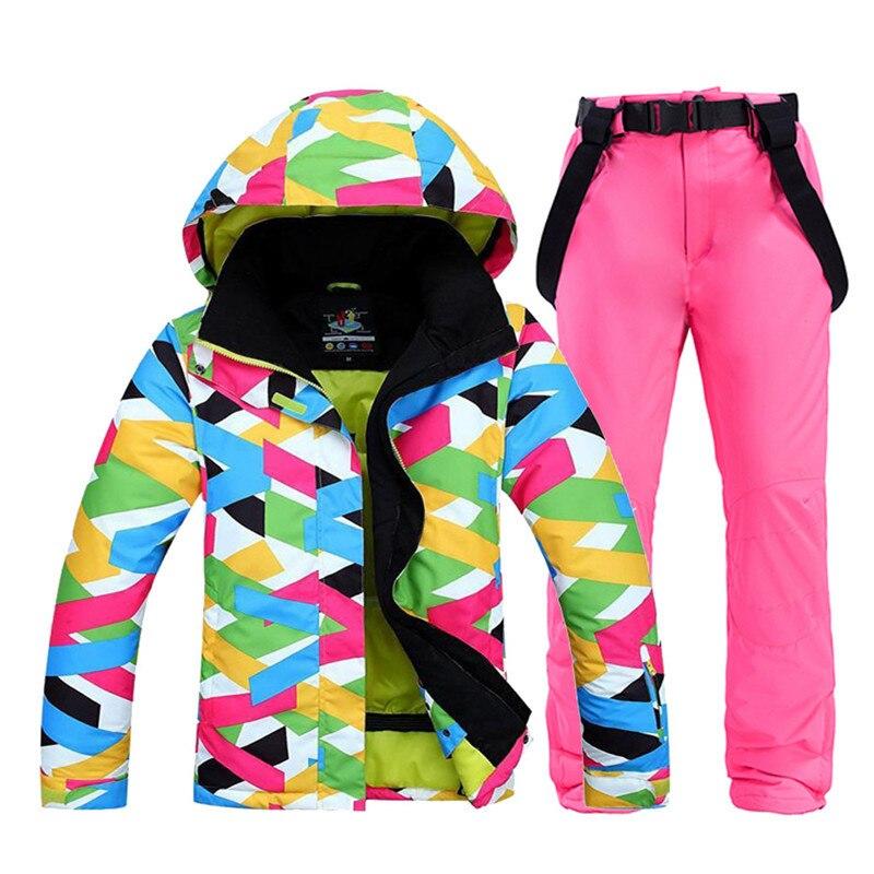 Ensemble de combinaison de neige pour femme vêtements de snowboard pour femmes vêtements d'hiver Sports de plein air 10K Costume imperméable vestes de Ski + bavoirs pantalons de neige